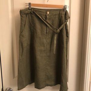 100% Linen Green Modest Midi Skirt